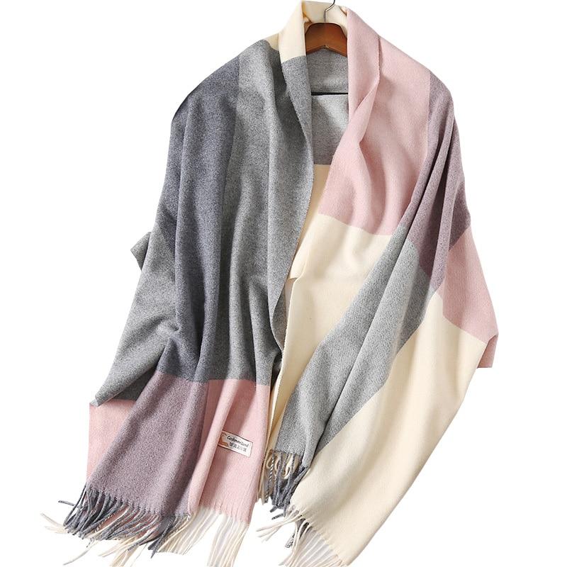 e985a5edb2b High Quality European Britsh Style 100% Cashmere Plaid Checks Assorted  Colors Scarf Women Winter Warm Wool Shawl Pashmina Wraps