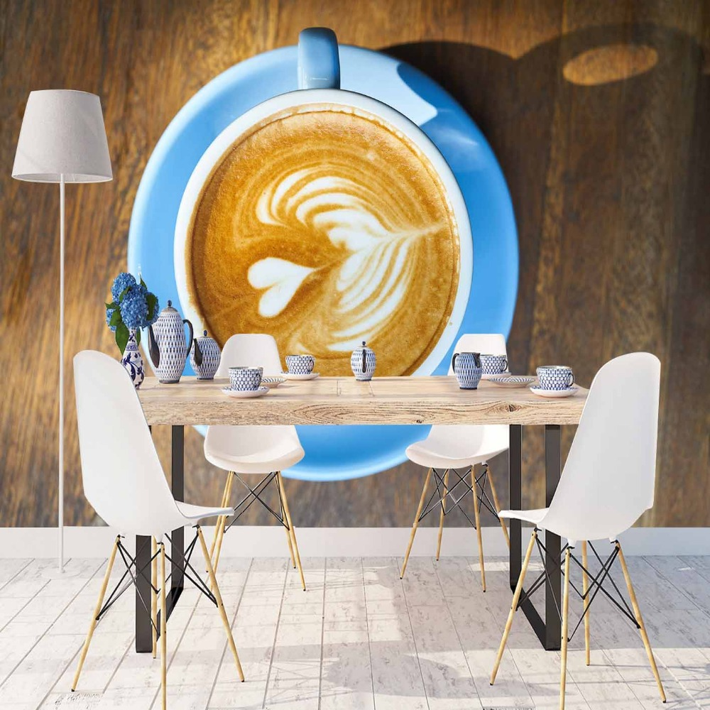 Else Blue Coffee Cup Brown White Hearts Wood Table 3d Print Photo Cleanable Fabric Mural Home Decor Kitchen Background Wallpaper