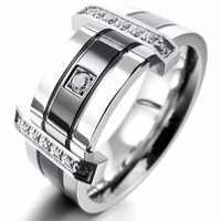 Anillos de acero inoxidable para hombre banda CZ plata negro boda encanto elegante al por mayor
