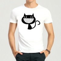 Gratis Verzending Fashion Leuke Kat T-shirt Korte mouw Dier Lachende Kat Top Tees Shirt Mannen Vrouwen