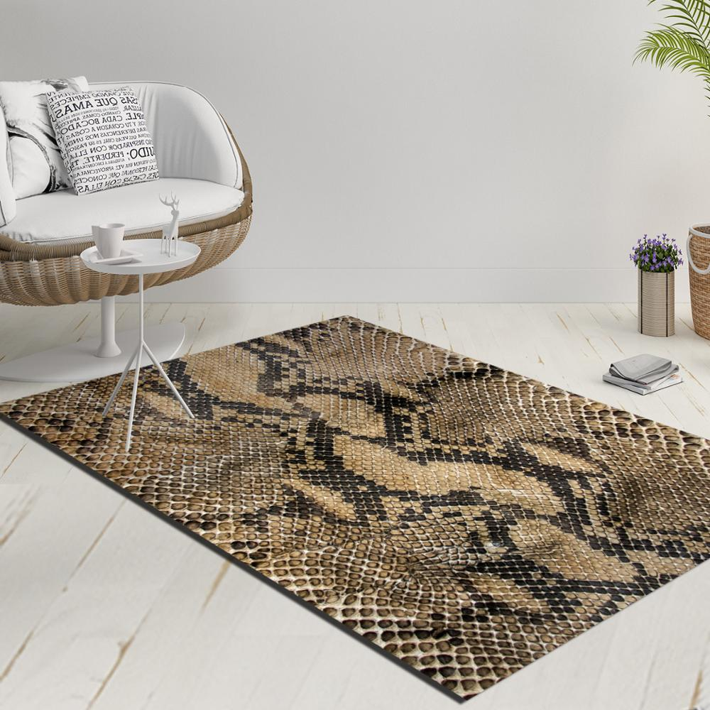 Else Black Brown Vintage Snake Skin Decorative 3d Print Anti Slip Kilim Washable Decorative Kilim Rug Modern Carpet
