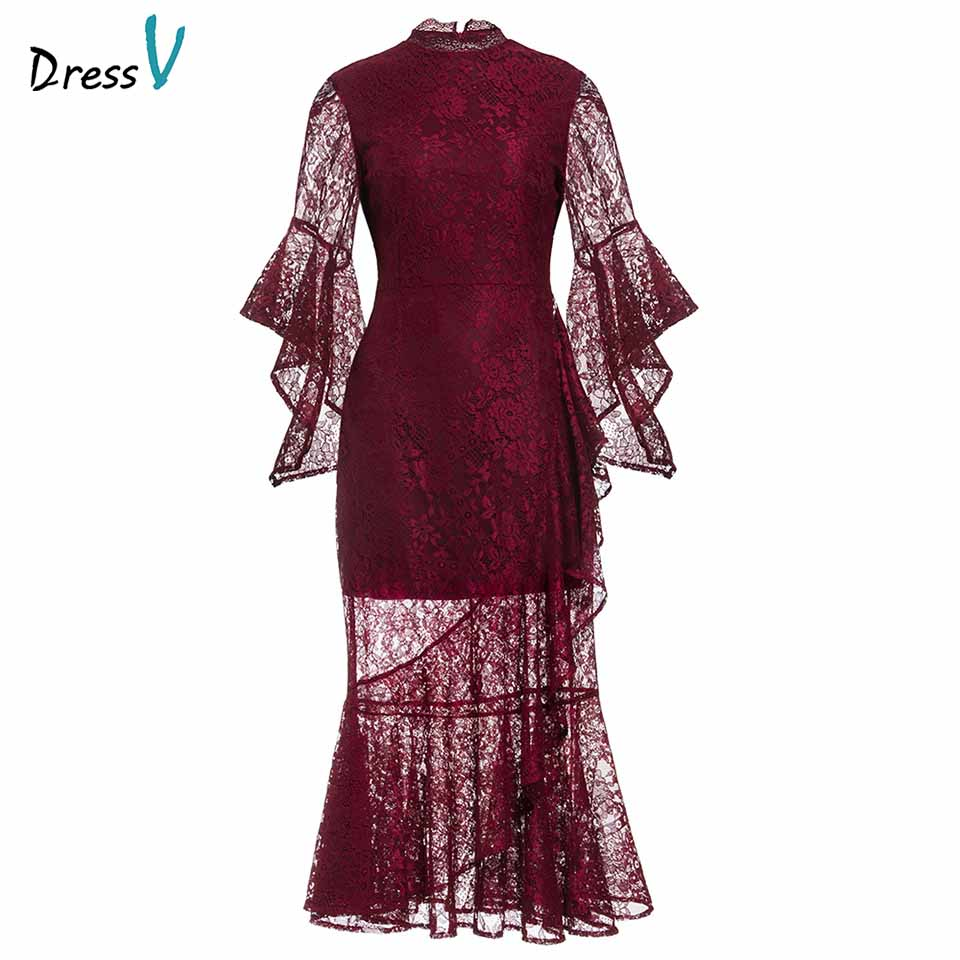 Dressv date red   evening     dress   cheap high neck lace 3/4 sleeves mermaid tea length wedding party formal   dress     evening     dresses