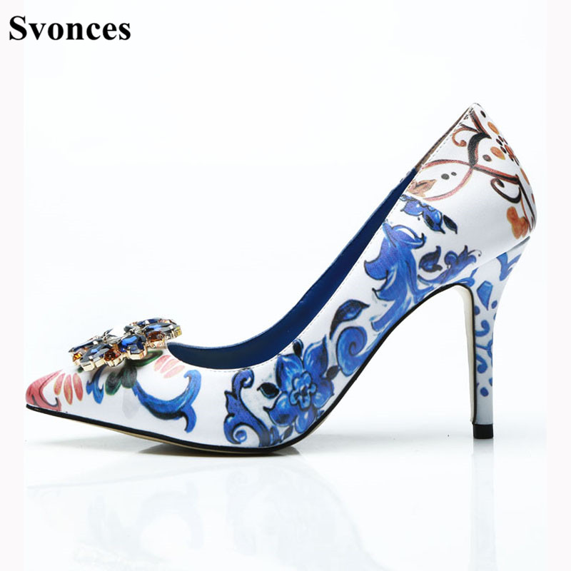 640173784ee3 Women Fashion Retro Printing Flowers Blue Pumps High Heels Shoes Woman  Stiletto Pumps Summer Shoes Woman