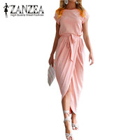 ZANZEA Elegant Women Casual Long Shirt Dress 2017 Bowknot Belt Pleated Maxi Dress Split Summer Short