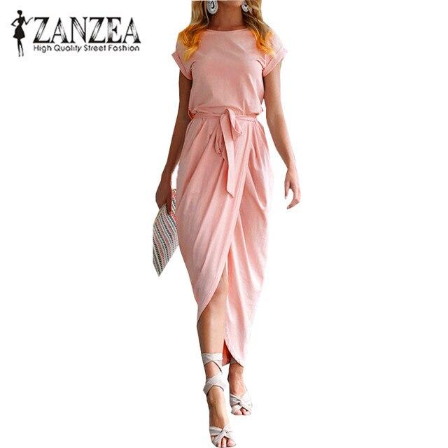 Новый Zanzea элегантный Для женщин Повседневное длинное платье-рубашка 2018 плиссированные тонкие короткий рукав с поясом и бантом офисные праздничный сарафан Vestido