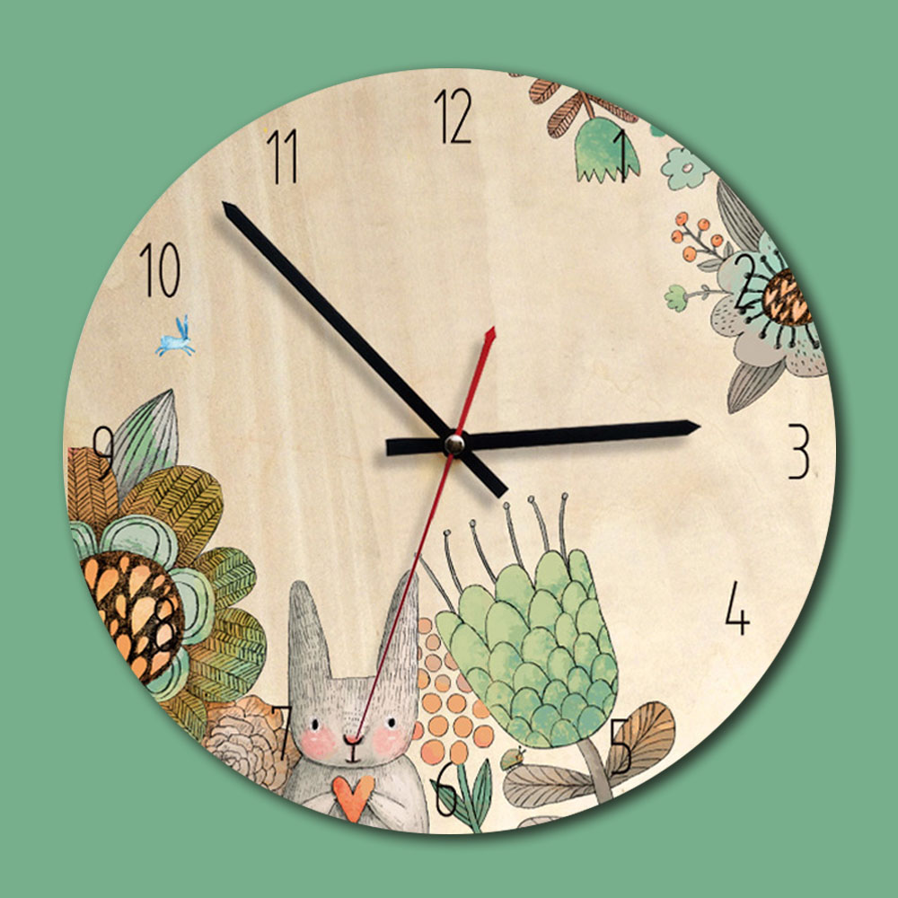 Wooden Creative Wall Clock Living Room Mute Clocks Children`S Room Wall Decoration Wall Watches Relogio De Parede