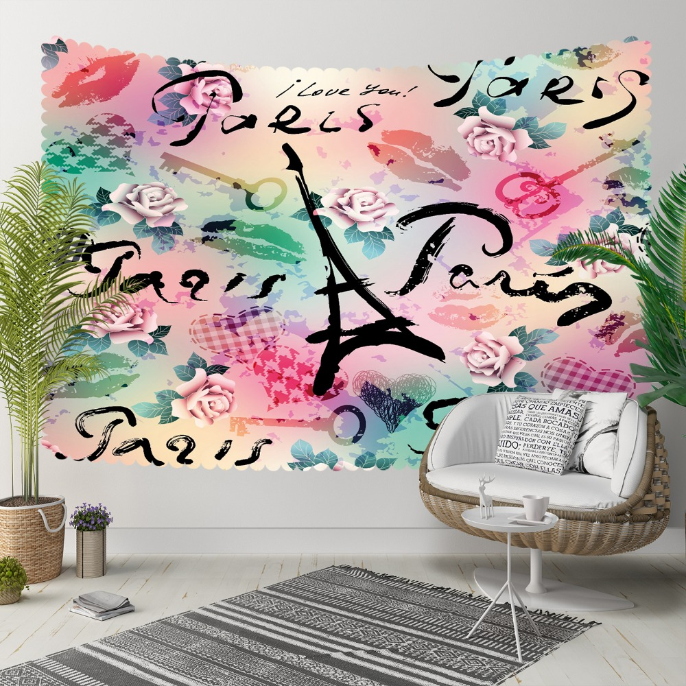 Else Paris Writen Pink Green Watercolor Towers 3D Print Decorative Hippi Bohemian Wall Hanging Landscape Tapestry Wall Art