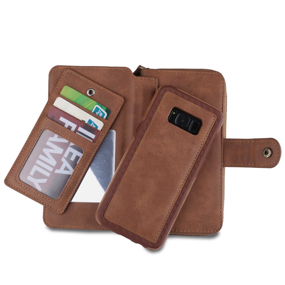 Eتوي الفاخرة الهاتف حقيبة لسامسونج غالاكسي S8 زائد S7 حافة S6 زائد S5 S4 نوت 4 5 جراب هاتف الرجعية المحمولة سستة حقيبة Couqe كابا