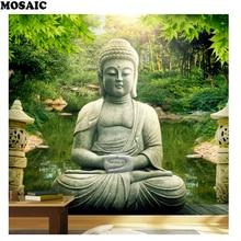 5D DIY Diamond Painting buddha garden Cross Stitch  Landscape Needlework Home Decorative D49