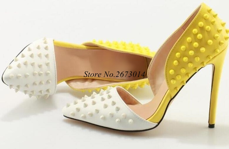 Sexy-White-Yellow-Rivet-Pumps-Women-Shoes-Pointed-toe-Cut-out-Patchwork-Studded-Heels-Women-Shoes (3)