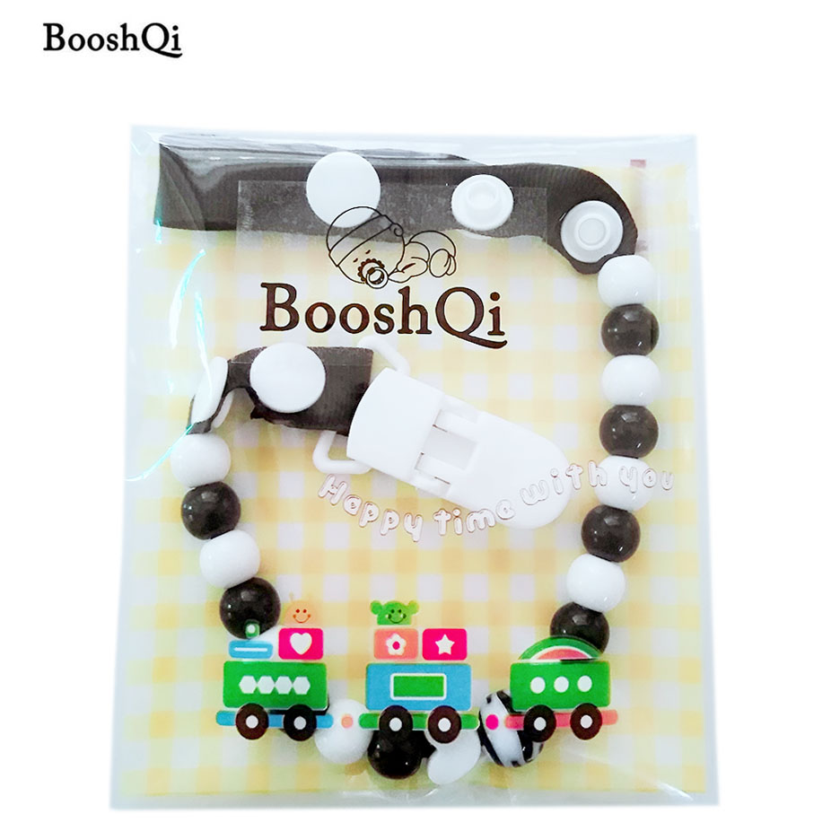 1pc Baby Pacifier Clips Dummy Pacifier Chain Clip Holder Cute Beads Strap Clip Funny Teether Toy Chain Baby Feeding Products