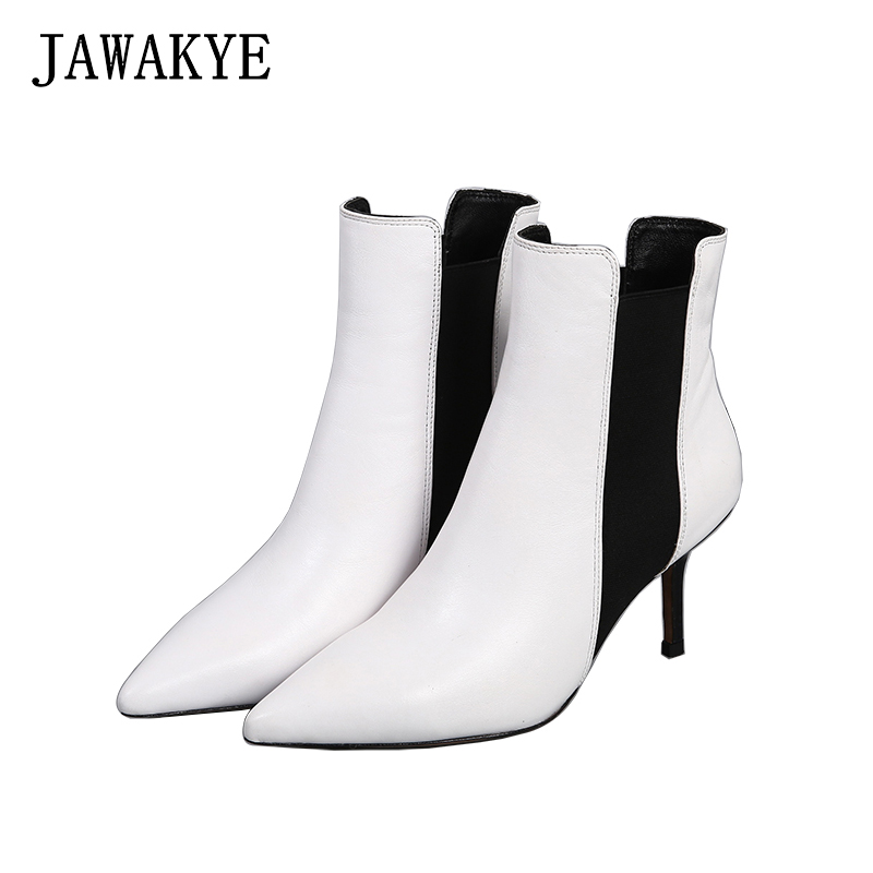JAWAKYE Pointy Toe Ankle Boots Women Med kitten High Heels Genuine Leather Short Chelsea Boots White black Winter Shoes Woman autumn winter black white high heels knight boots real leather shoes british retro metal decor pointy toe ankle boots for women
