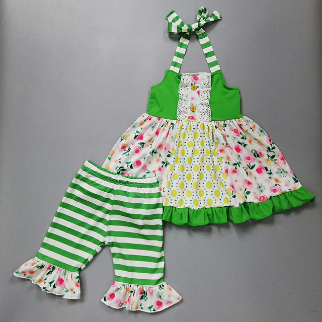 783f273e1 2019 New Summer Baby Girl Boutique Outfit Village Style Light GreenFlowers  Pl Pattern Baby Girl Clothes