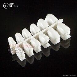 TKGOES 120 개 짧은 디자인 가짜 손톱 가짜 Ongles 풀 커버 거짓 아크릴 손톱 인공 디자인 팁! #02 화이트