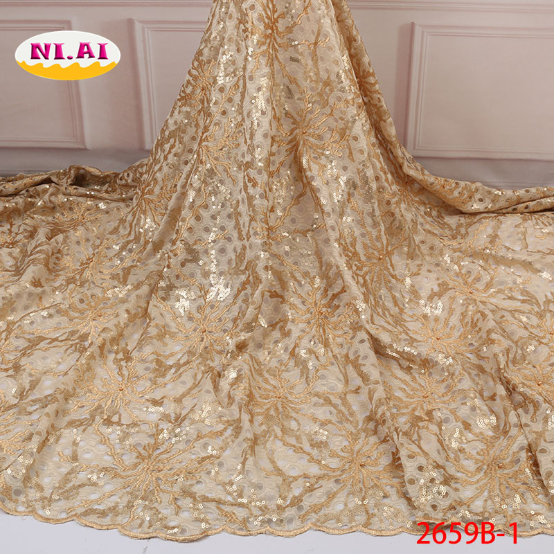Bridal Lace Sequin Fabric Alibaba express Dresses Lace In Gold Embroidery Fabric Wedding Lace Mr2659b