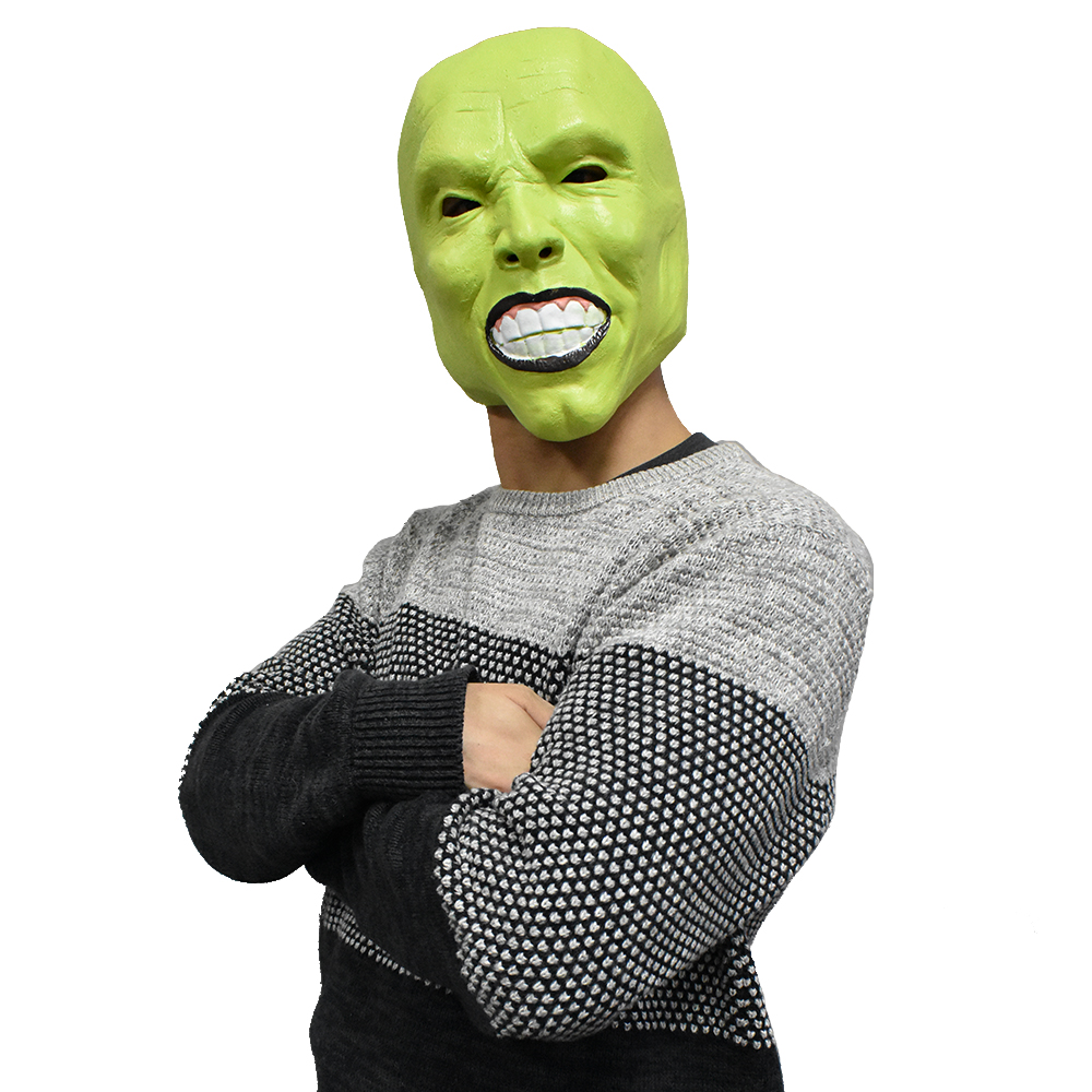 The Mask Movie Jim Carrey Latex Mask Full Head Handmade for Cosplay Party Mask image