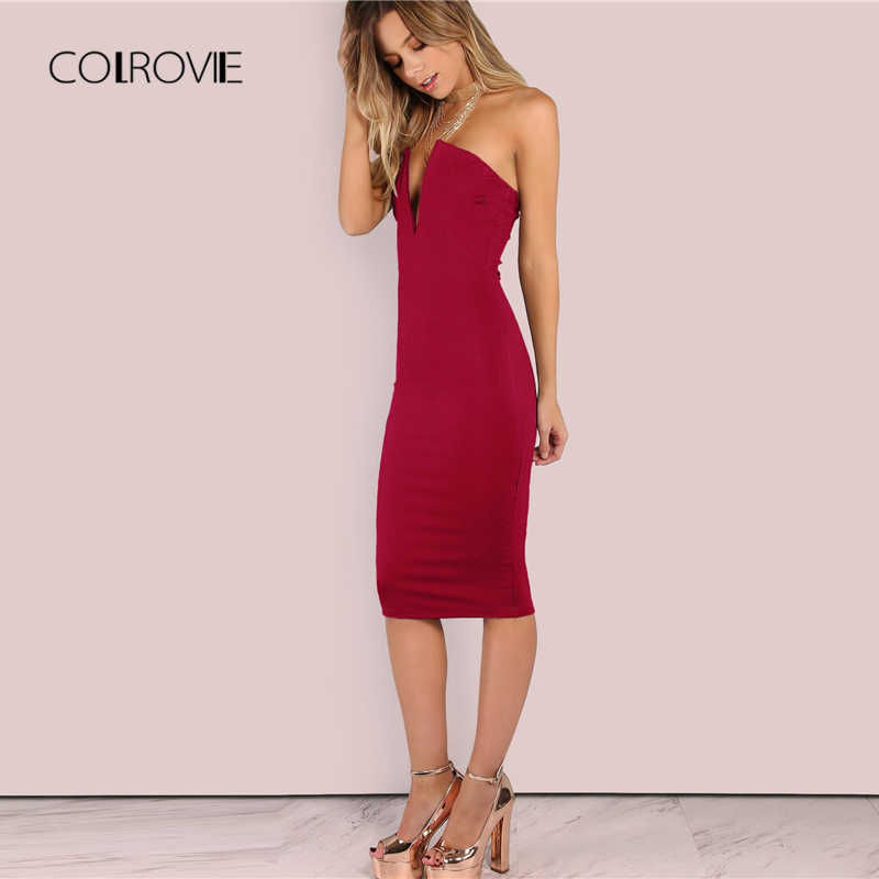 8bcebe8928d ... COLROVIE Boundary Backless Deep V Strapless Sexy Bodycon Dress Women  2018 Autumn Backless Party Dress Night ...