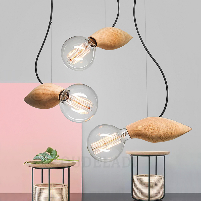 Modern vintage solid wood small bird Pendant Lights decorated restaurant cafe bar Lamps With E27 bird leaf decorated bracelet