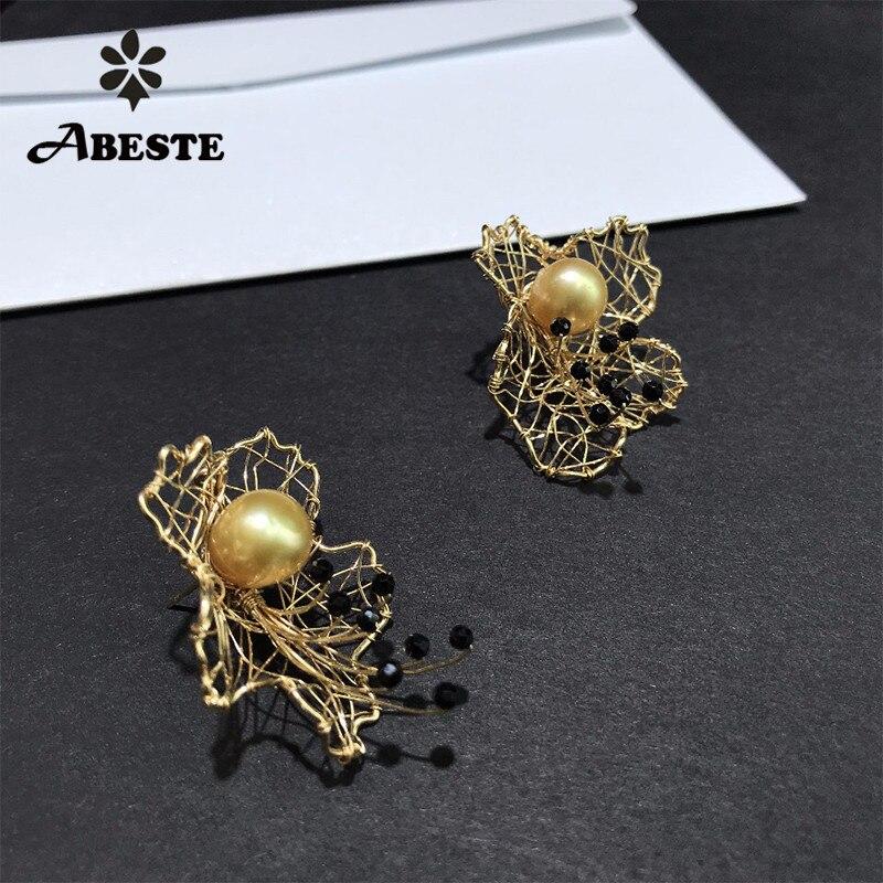 купить ANI 14K Roll Gold Women Stud Earring Natural South Pacific Gold Pearl oorbellen Roll Gold boucle d oreille Handmade Fine Jewelry недорого