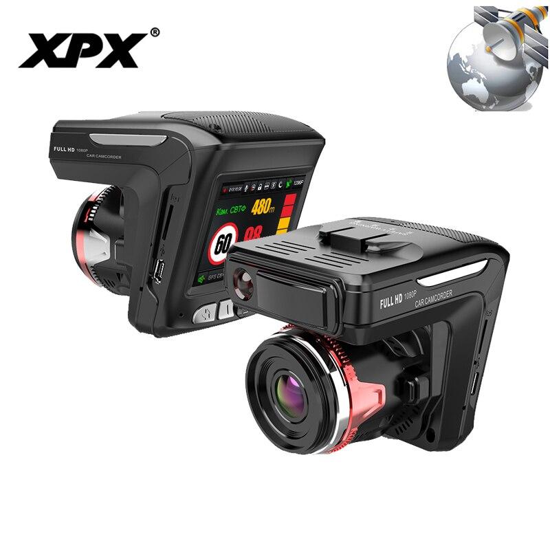 XPX G565-STR Auto DVR 3 in 1 Dash cam Videocamera vista posteriore rivelatore Del Radar GPS Full HD 1080 p G-sensor dashcam Auto della macchina fotografica Dell'automobile DVR