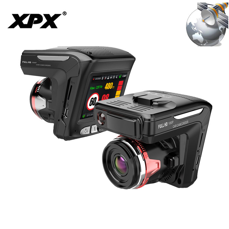 XPX G565-STR Car DVR 3 in 1 Dash cam Rear View Camera Radar detector GPS Full HD 1080P G-sensor Dashcam Car camera Car DVR цена 2017