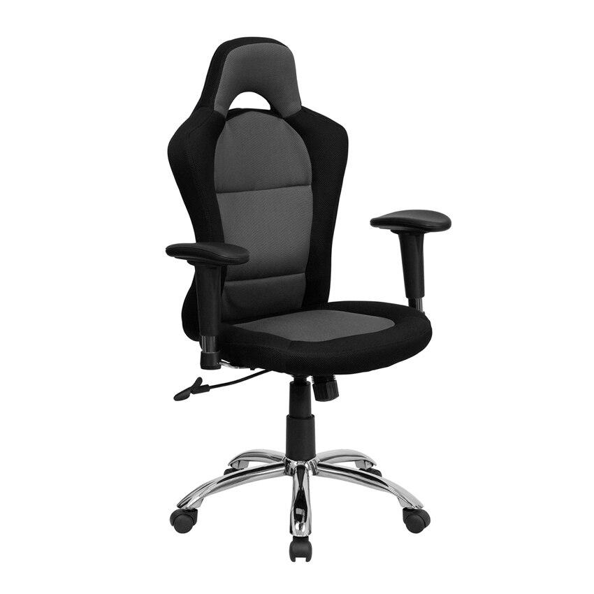 Flash Furniture Race Car Inspired Bucket Seat Office Chair in Gray and Black Mesh [863-BT-9015-GYBK-GG] столик автомобильный раскладной car office 3 in 1