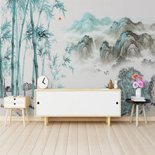 New Chinese artistic conception abstract ink landscape bamboo living room background wall painting professional production wallp