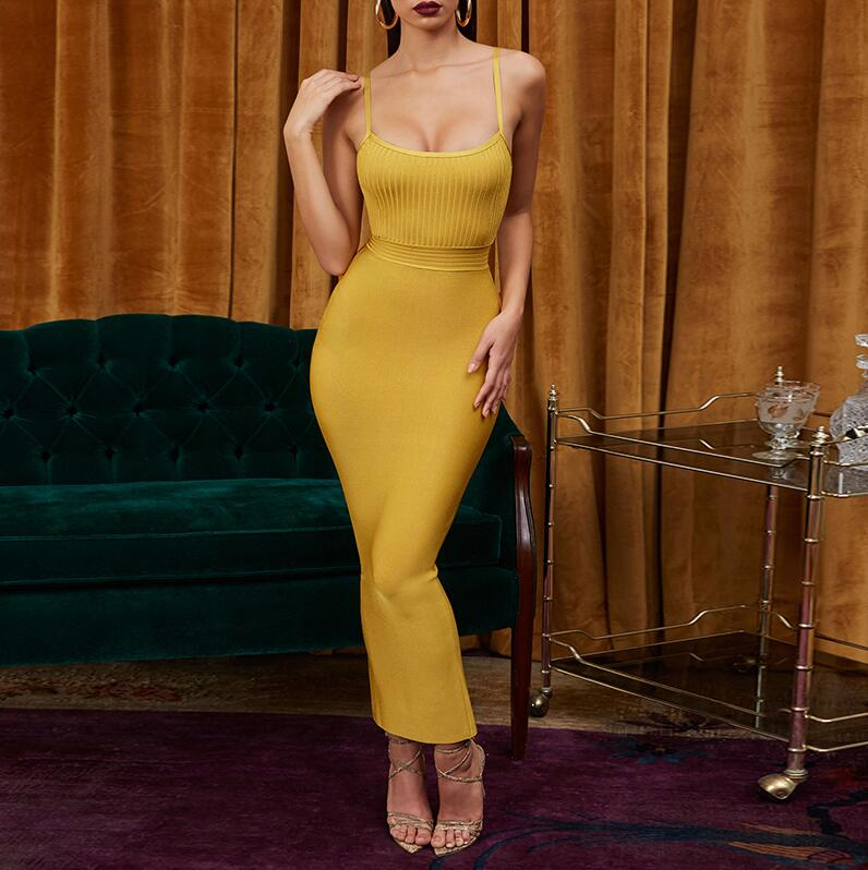 Cerf dame Bandage robe 2019 nouveaux arrivants été Maxi robe Bandage robe jaune femmes Sexy moulante Bandage robe fête Clubwear