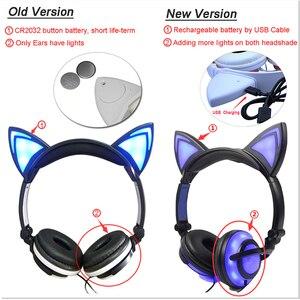 Image 3 - YiJee kedi kulak LED kulaklık LED yanıp sönen parlayan ışık kulaklık kulaklık oyun kulaklık PC bilgisayar ve cep telefonu