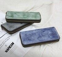 Handmade vintage leather cowhide men and women wallet fog wax skin vegetable suede Japanese long wallet