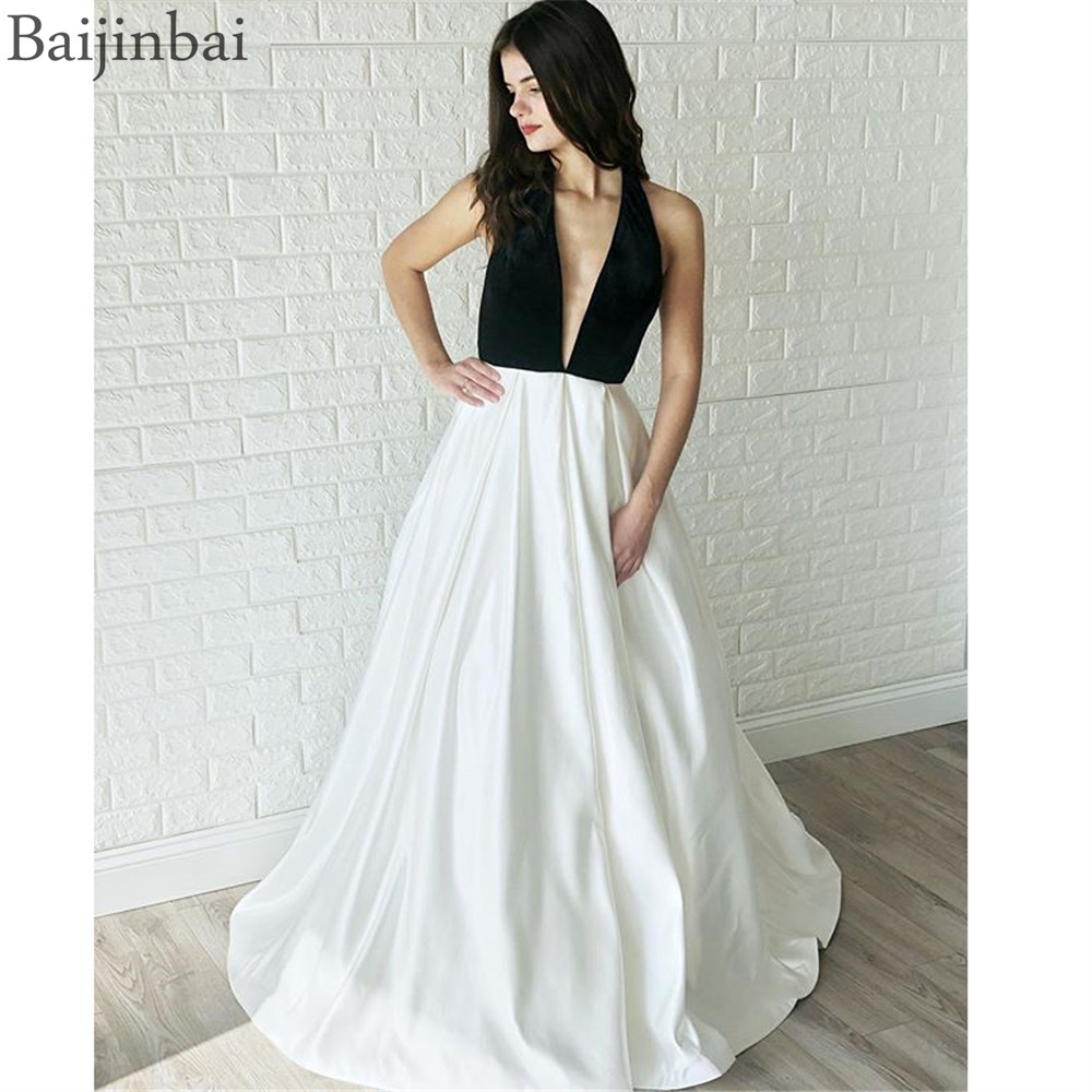 Baijinbai Sexy Backless   Prom     Dresses   Velvet Top Satin A-Line Halter Floor-length Long Evening Gowns Formal   Dress   Robe De Soiree