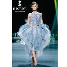 JUSERE 2019 SS DESFILE de MODA Azul Encantador Vestido Bordado Ver Através de Vestidos de Formatura Curto de Festa Vestidos de Regresso A Casa
