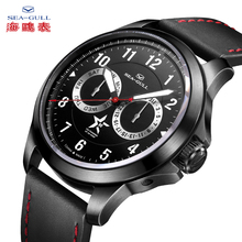 SEA-GULL Mechanical Watches Mens Wristwatches 100m Waterproof Leather Buckle Calendar Luminous Week Male 819.97.1012H