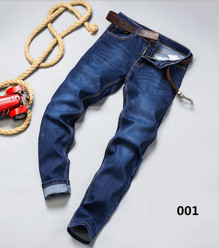 Mens Jeans Rugged Wear Jeans Classic Direct Stretch Dark Blue Business Casual Denim Pants Trousers Gentleman Cowboys