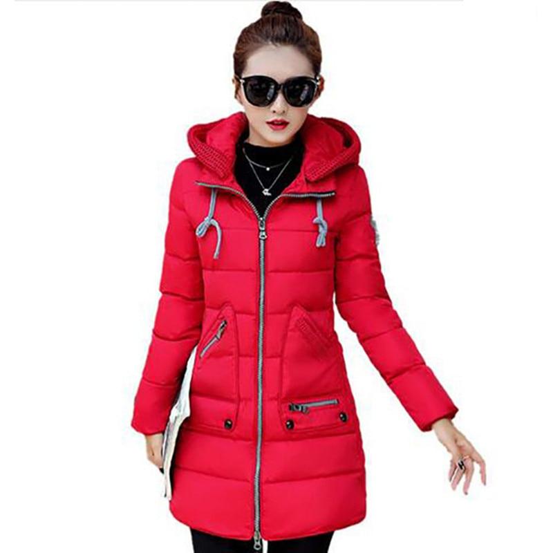 Большой Размер Зимняя Куртка женщин Новые С Капюшоном Тонкий Среднего длинный отрезок Зима Парка Хлопка Куртки