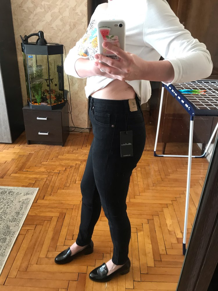 Alice &Amp; Elmer Skinny Jeans Woman Jeans For Girls Jeans Women High Waist Stretch Jeans Female Pants  Shortened Black photo review