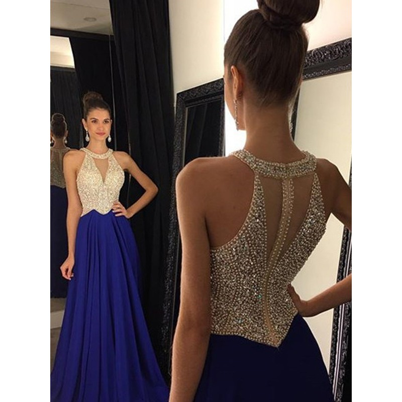 Royal Blue Chiffon   Prom     Dresses   2019 Sexy Boat Neck Beaded Contrast Color Floor Length Vestido De Festa for Party Gowns