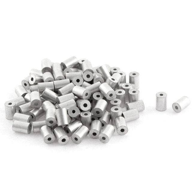 UXCELL 100Pcs Aluminum Cable Stops Sleeves For 1Mm Wire Rope Swage ...