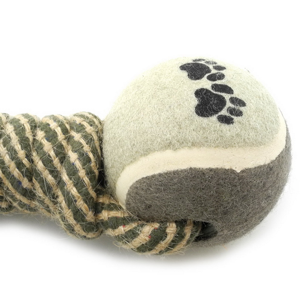 2017 Medium Large Dog/Cat Rope Toys Tug-o-War for Aggressive Chewers Pet Double Tennis Wools Ball