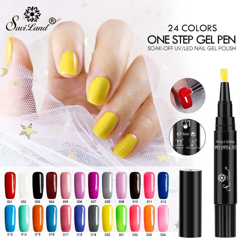 Saviland один шаг гель лак для ногтей Nail Art 3 в 1 Soak Off UV Гель для ногтей Лаки Сияющий Блеск Гель Клей нет необходимости Топ Base Coat