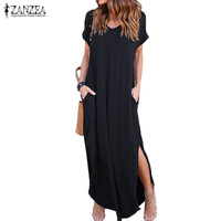 2017 Summer ZANZEA Women Casual Long Shirt Dress V Neck Short Sleeve Slit Sundress Loose Fashion