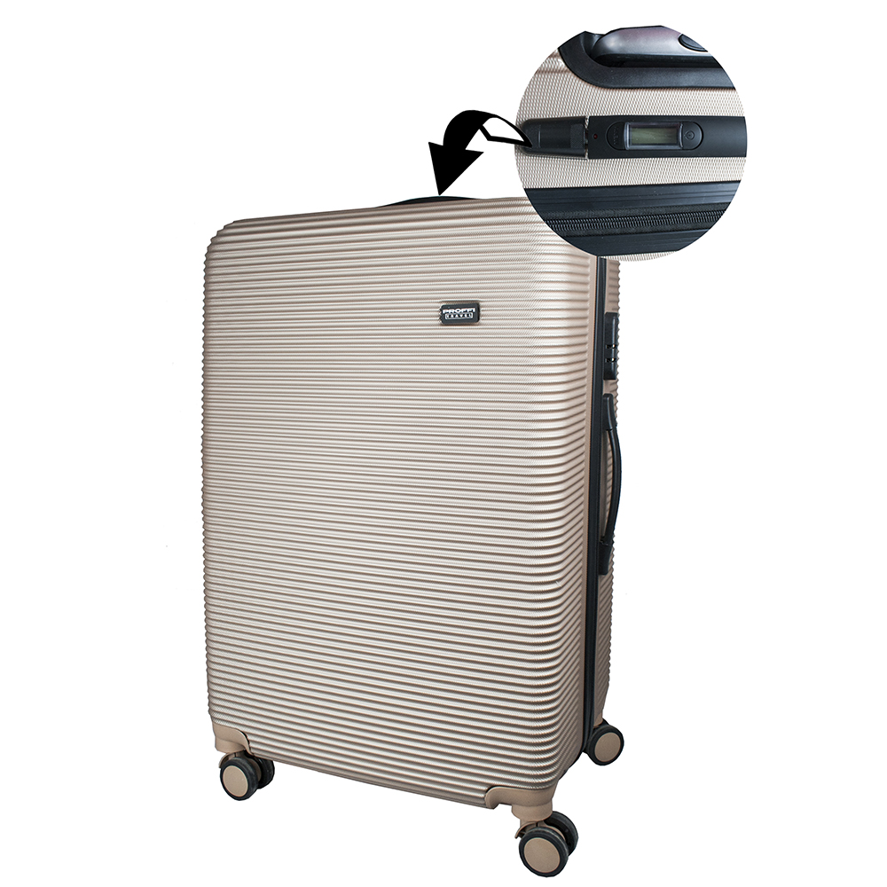 Good beige suitcase PROFFI TRAVEL PH8863beige L large plastic with built-in weights on wheels 74x48x24cm 2pcs travel bags replacement luggage suitcase wheels left
