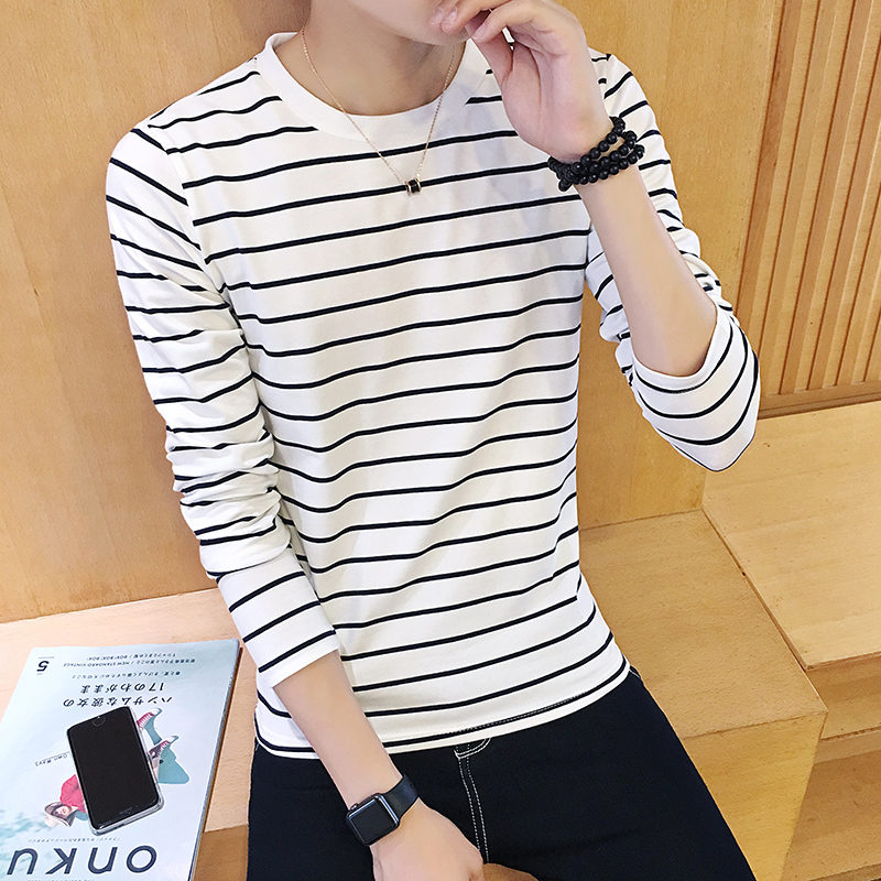 Black and white striped T-shirt, men's long sleeves, thin section Korean version, spring and autumn section,