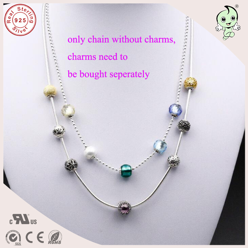 New Collection Top Quality Popular And Fashion 925 real Silver Snake Necklace And Bead Chain Necklace Fitting Essence Charm ...