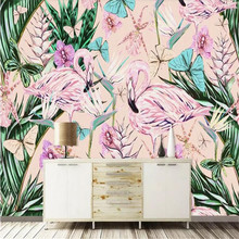 Nordic tropical rain forest plant flamingo background wall painting factory wholesale wallpaper mural custom photo wall цены онлайн
