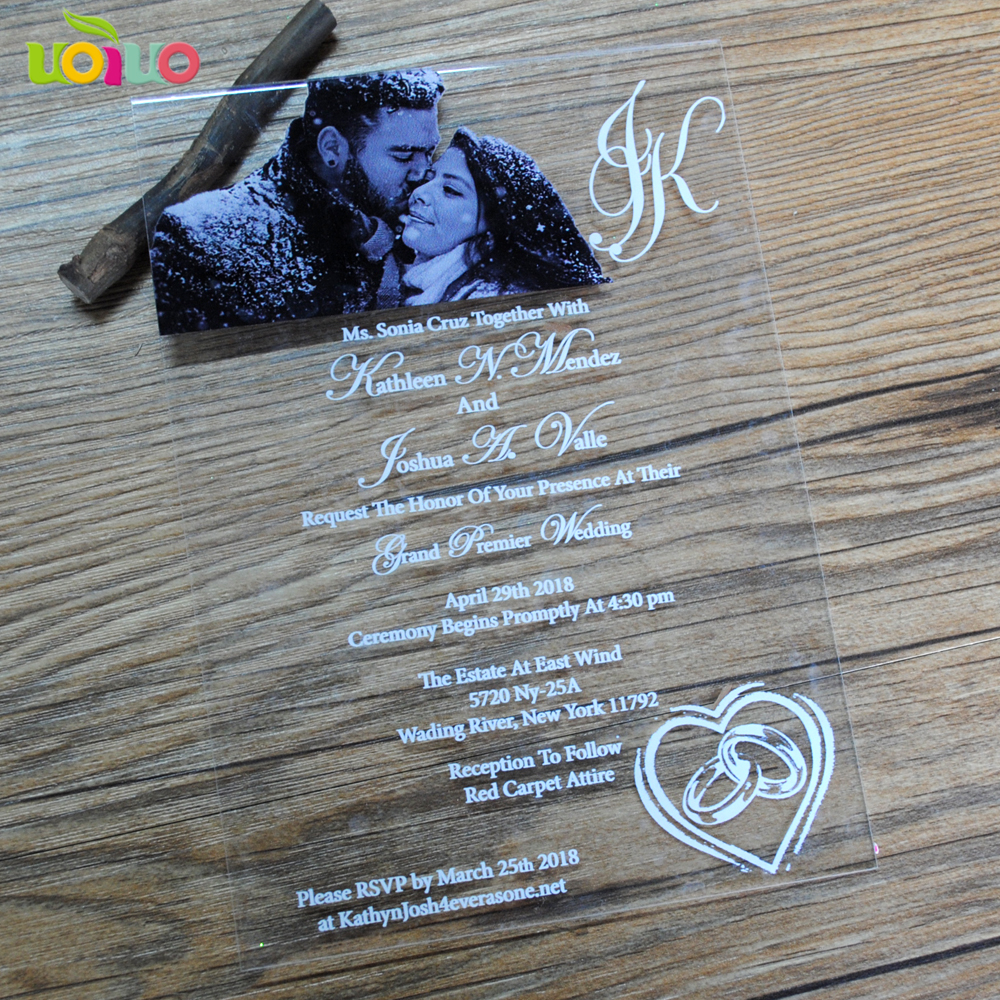 Us 17 42 15 Off Luxurious Printing Wedding Invitation Card Making Laser Cut Clear Acrylic Glass Invitation Card Price In Cards Invitations From