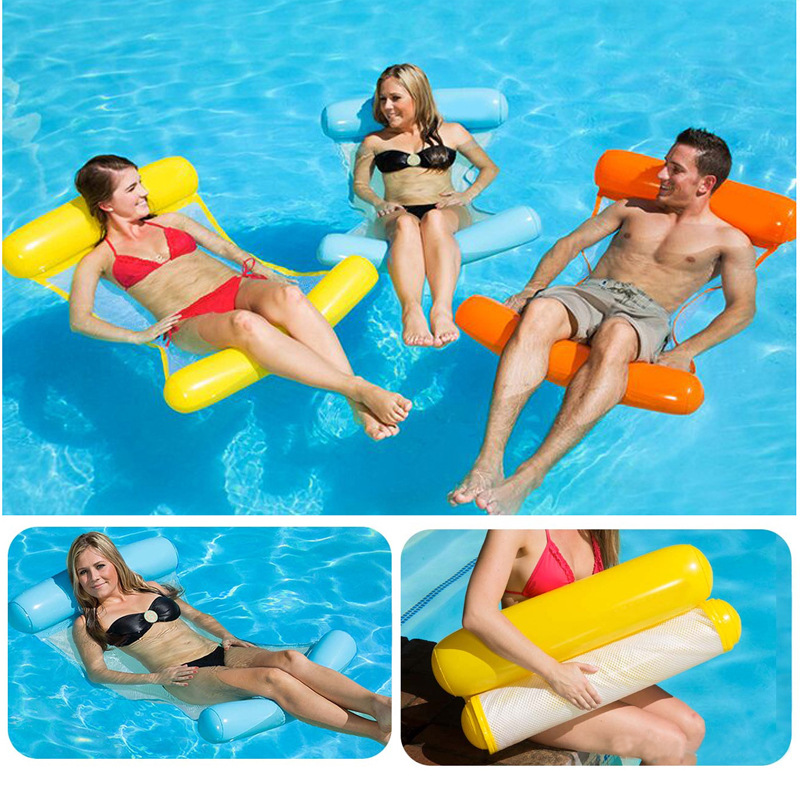 Inflatable Floating Bed Outdoor Swimming Pool Inflatable Lounger Chair Pool Float Fun Foldable Floaties Swim Party Toys