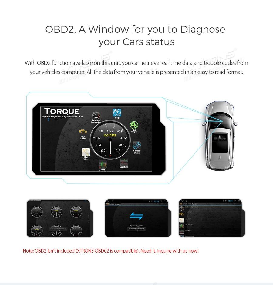 Unidad de navegaci/ón GPS para Coche XTRONS Android 8.1, Pantalla t/áctil de 7 Pulgadas, 2 Cabezales DIN Doble, Compatible con Salida RCA Completa Bluetooth5.0, WiFi, DVR, OBD