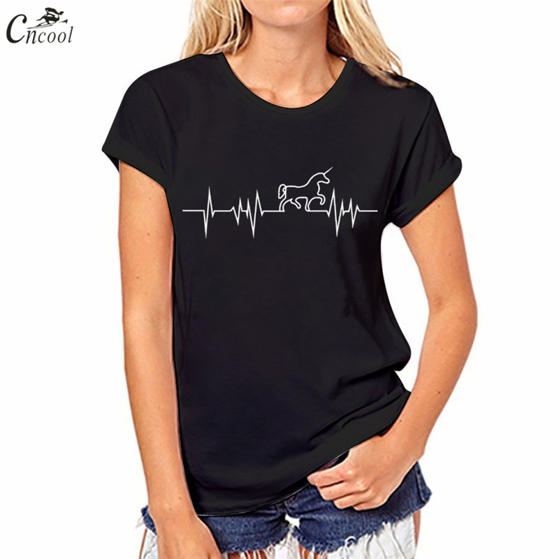 Cncool Womens T-shirt Harajuku Electrocardiogram Unicorn Print Pure Black T shirt Women Tumblr Fashion Solid Color Shirt