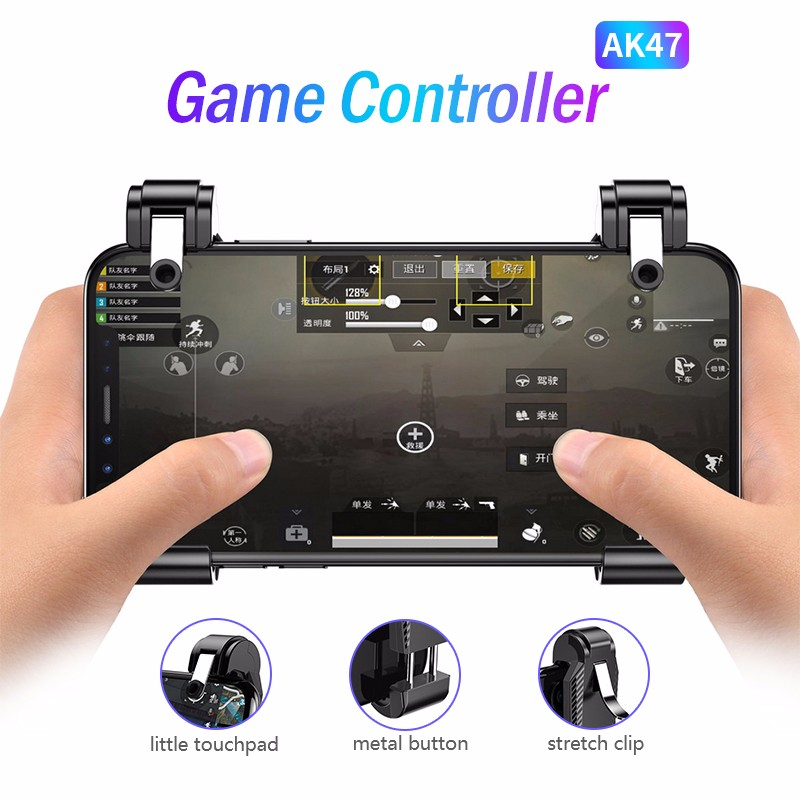 AK47 PUBG Mobile Phone Game Controller Gamepad L1R1 Shoot Trigger Free Fire Button Joystick Gamepad For IOS Android Phone 1 Pair